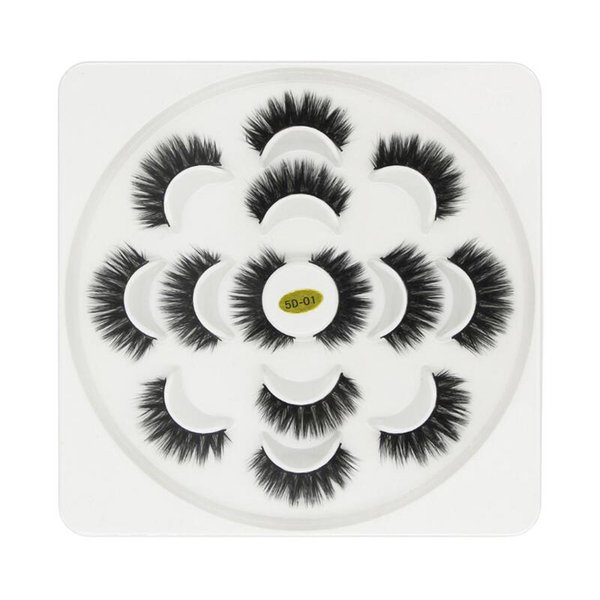 7 pairs Lotus 5D False Eyelashes 3.5cm Natural Long Thick Soft Fake EyeLash 7Pair/set Extensions Flair Black Color Eyelashes Makeup Terrier
