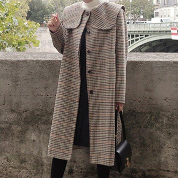 Single Breasted Pliad Women's Woolen Coat Autumn Fashion Vintage Long Wool Draped Coats Women Winter Jackets Female Outerwear