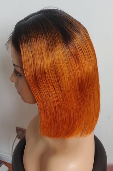 Rendas Frente perucas Curtas BOB 1B orange ombre cor Pré Arrancadas Natural da Linha Fina Indiano Peruano Cabelo Brasileiro Bleach Knots 150% Densidade
