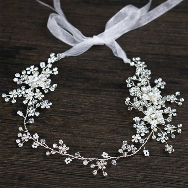 White Pearl Crystal Headmade Flower Ribbon Elegant Garland Party Bride Hairband Tiara Hairwear Pearl Headband Hair Jewelry Wedding Hair
