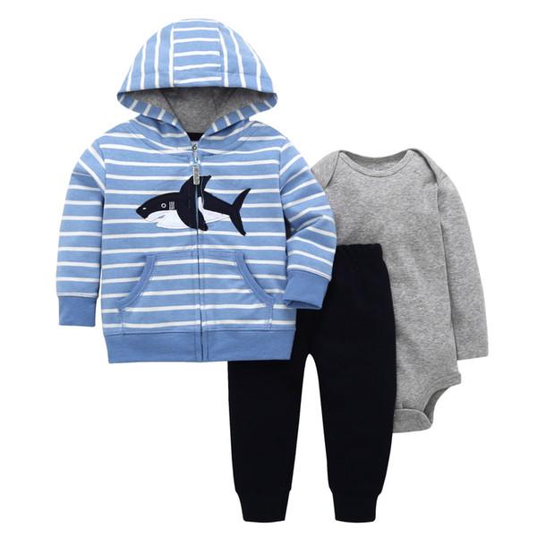 Baby Boy Menina Outfit Algodão Listra Tubarão Casaco Com Capuz + manga Longa Romper + calça Outono Inverno Newborn Conjunto de Roupas New Born Suit J190520