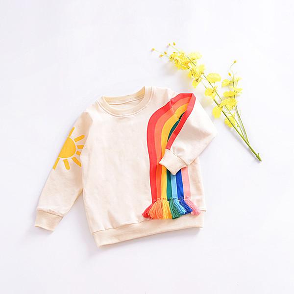 Baby Boys Sweatshirt Children Brand Design 2019 Autumn Girls Hoodies Cotton Long Sleeve O-neck Rainbow Printed Tassel T Shirts