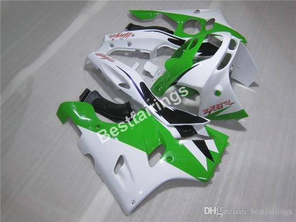 ABS plastic fairings for Kawasaki Ninja ZX6R 1994 1995 1996 1997 green white fairing kit ZX6R 94 95 96 97 MT15