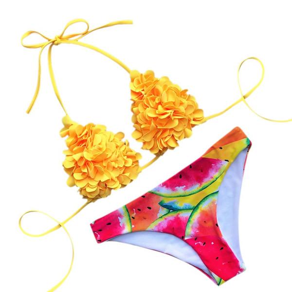 Damen Bikini Solid Set Badeanzug 2-teiliger gefüllter BH Bademode Beachwear Bequeme Größe süßer gelber Strandbadeanzug