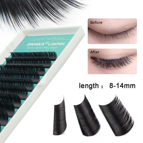 Neues Design IIWAKA Brand 1 Stück Alle Größen schwarz individuelle Wimpernverlängerung falsche Wimpern