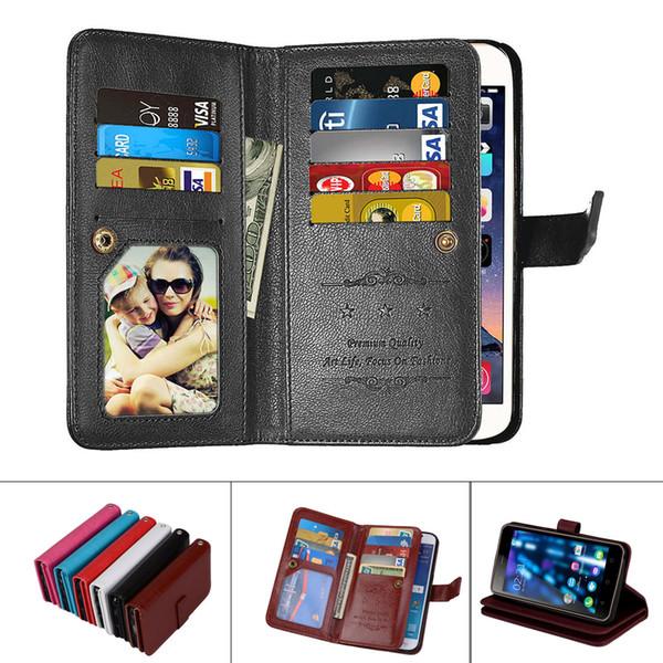Toptan Deri Manyetik Dayanıklı 9 Kartları Yuvaları Çevir Cüzdan Kılıf Sony Xperia Için X XA XA1 XZ XZ1 XZ2 Kompakt Ultra Premium Performans