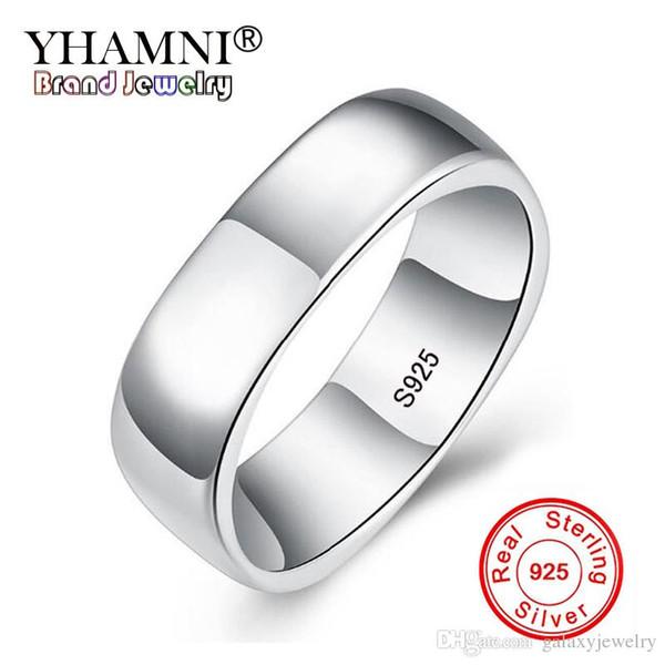 YHAMNI Original 925 Anéis De Prata Esterlina Única Forma Quadrada S925 Carimbo Anéis De Dedo Para Mulheres Dos Homens Simples Anel de Dedo HR062