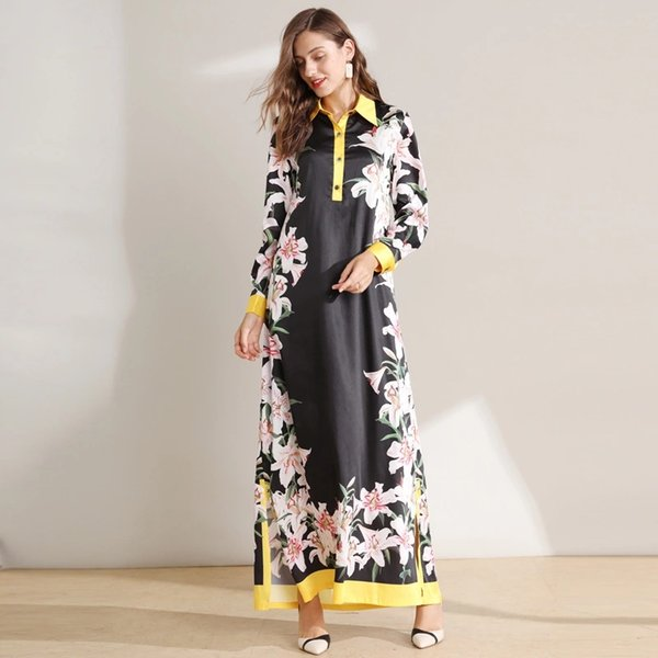The latest high-quality vintage mixed silk print long-sleeved lapel dress in Europe and America