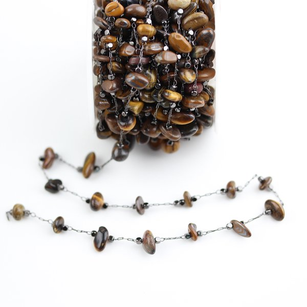 5-8mm,Natural Tiger Eye Stones Chips Chains Jewelry,Wire Wrapped Golden/Black Plated Copper Links Necklace