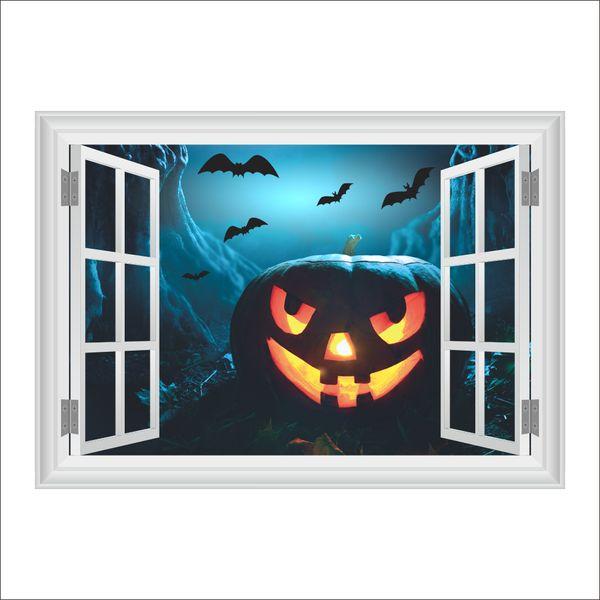 Halloween 3D False Window Wall Decor Terrorist Pumpkin Wall Stickers Living Room Home Decor DIY Poster Mural Wallpaper Wall Decals