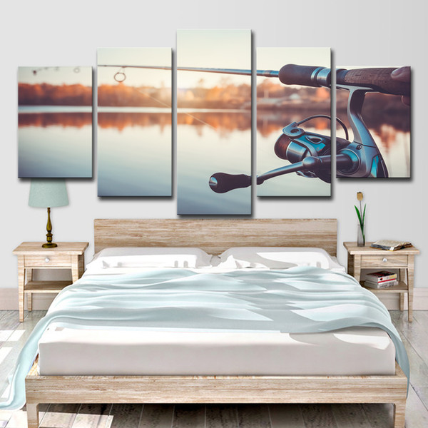 HD Printed 5 Piece Canvas Art Fishing Rod Painting Music Instrument Vintage Wall Pictures for Living Room Free Shipping