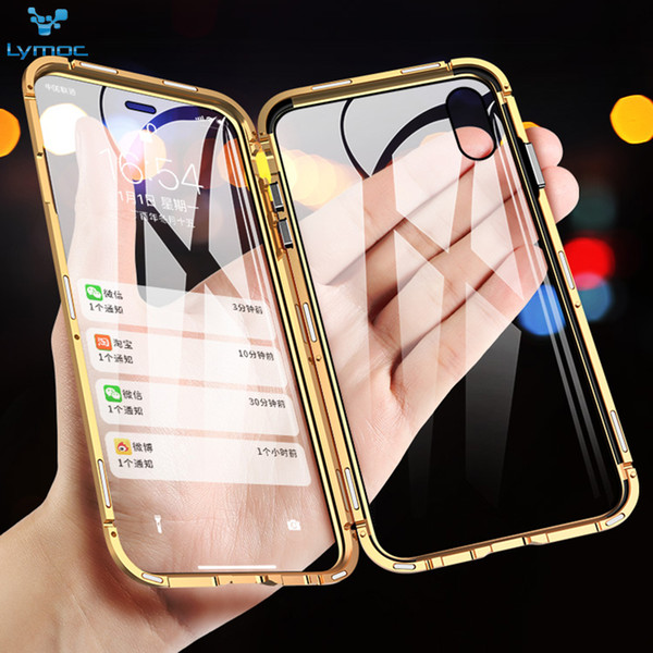 Luxury Magnetic Adsorption Upgrade Double Side Glass Case for iPhone X XS MAX XR 7 8 Plus Tempered Glass Cover Metal Frame for Samsung S10e