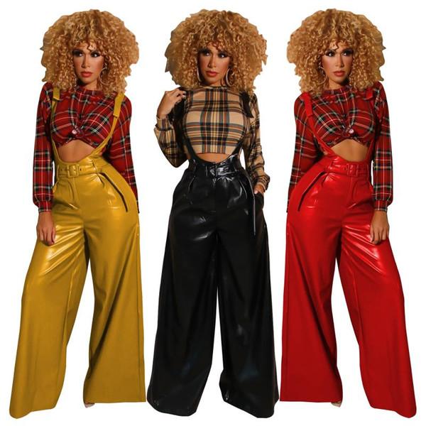 2019 autumn new women's PU leather pants belt high waist strap artificial leather ladies trousers winter pants wide leg