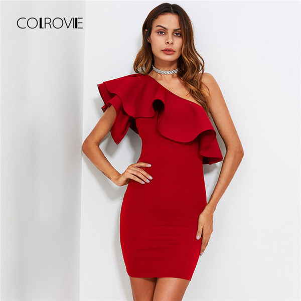 Colrovie Red Ruffle Flounce One Shoulder Form Fitting Bodycon Summer Slim Solid Women Stretchy Party Dress Q190510