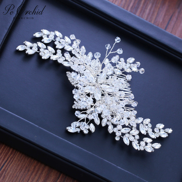 best selling Fashion- Elegant Crystal Hair Accessories Wedding Hair Comb Pin For Women Orquillas Para Boda Rhinestone Bridal Headpiece 2019