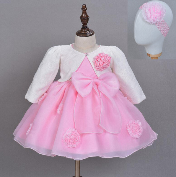 3pcs set Newborn Infant Baby Girl Dress Pageant Baptism Christening Wedding Suit