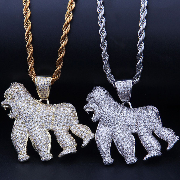 Hip hop Jewelry Gorilla Pendant Necklace Gold Silver Color Bling Cubic Zircon Men 's Animal Necklace For Gift