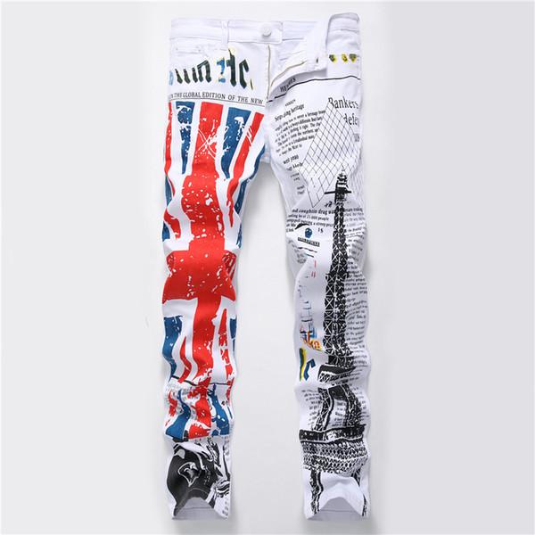 Fashion Stylish Cool Mens Pants Jeans with Print Graffiti Painted Denim Slim Fit White Jeans Men Hip Hop Rock Street Wear