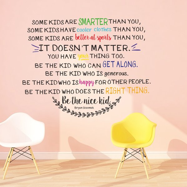 Be The Nice Kid Wall Decal Quotes for Kids Room and Nursery Decoration DIY Vinyl Self-adhesive Classroom Wall Decorative Sticker Murals