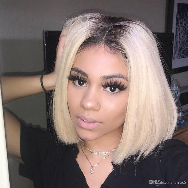 Blonde Full Lace Wig Human Hair Wig Short Bob Cut Brazilian Human Remy Hair 613 Blonde Ombre Lace Front Wig For Black Women