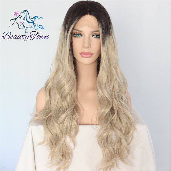 Beautytown Black Ombre Blonde Heat Resistant Hand Tied Blogger Daily Makeup Cosplay Long Synthetic Lace Front Wedding Party Wig Y190717