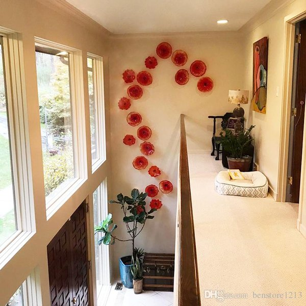 decorative glass windows traditional bathroom.htm 2020 lobby entrance red glass flower plates murano glass wall arts  lobby entrance red glass flower plates