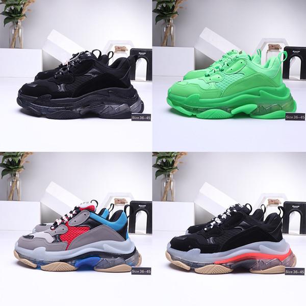 Triple S Designer Casual Shoes clair bullé Midsole Paris 17FW bas vieux papa Sneaker Triple Noir des femmes des hommes de mode avec boîte Taille 36-45