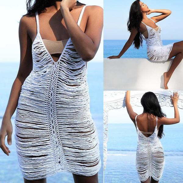 Kadınlar Yaz Bikini Örtbas Kolsuz V-Yaka Hollow Out Çiçek White Beach Elbise Beachwear