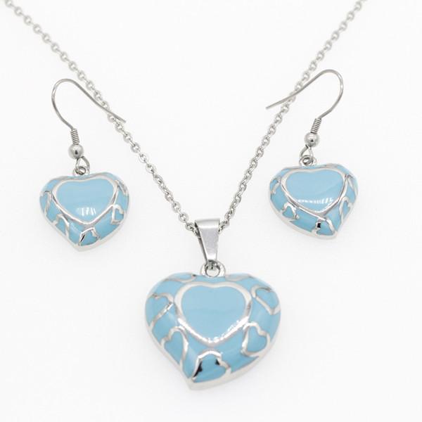 Edelstahl Schmuck Sets für Frauen Liebe Herz Sky Blue Emaille Romantische Europäische Baumeln Ohrringe Anhänger Halskette Sets