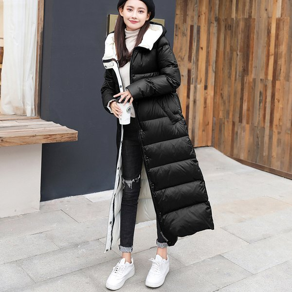 Shiny Women White Duck Down Chaquetas para mujer Abrigo de invierno Mujeres con capucha Warm Loose Outwear 2019 NEW BLACK RED