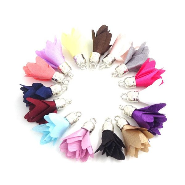 100pcs Small Silk Satin Flower Tassel Pendants For Jewelry Making 27mm Earrings Findings Diy Craft Materials