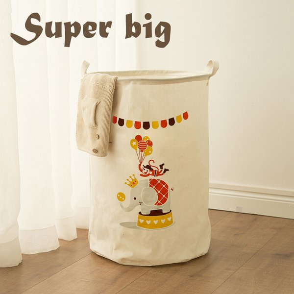 Extra Large Cotton Clothes Toys Storage Bucket Basket Fabric Waterproof Collapsible Laundry Tweezers Portable Hamper Wholesale Free Shipping
