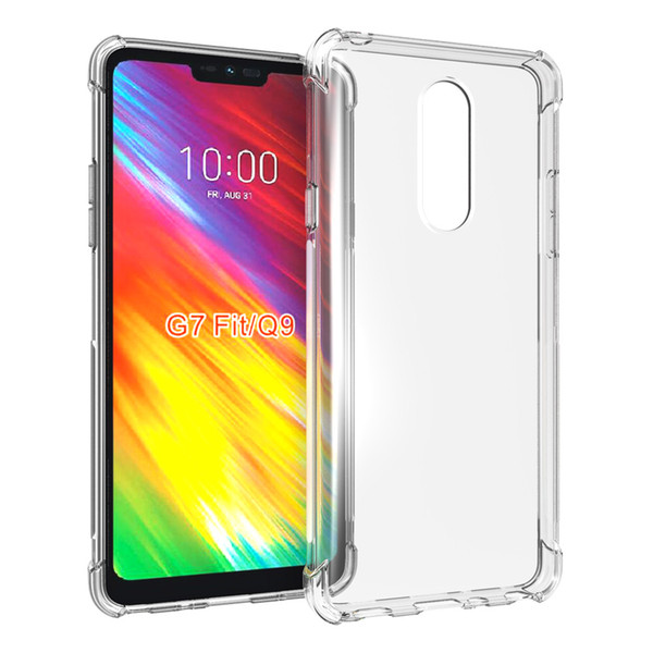 Slim Thin Anti-Scratch Clear Flexible TPU Silicone with Four Corner Bumper Protective Case Cover Compatible for LG G7 Fit (Q9)