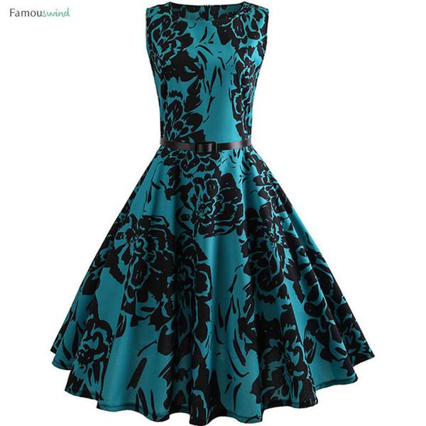 Vestido de verano de la impresión floral de la vendimia de las mujeres oscilación elegante vestido Tamaño Rockabilly partido de los vestidos ocasional más Midi Túnica