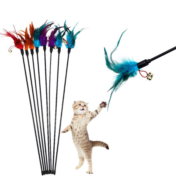 Cat Toys Feather Wand Kitten Cat Teaser Turkey Feather Interactive Stick Toy Wire Chaser Wand Toy Random Color