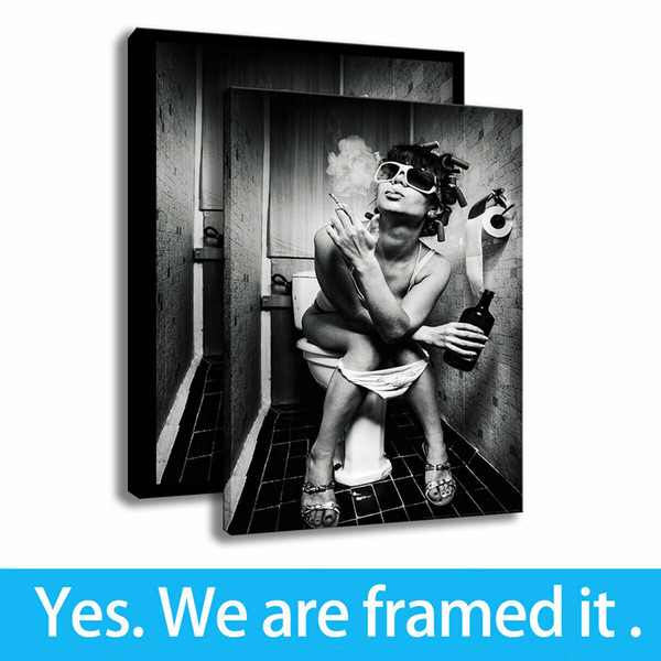 Toilet Girl Art Canvas Character HD Print Bathroom Wall Decor Painting Framed Art - Ready To Hang - Support Customization