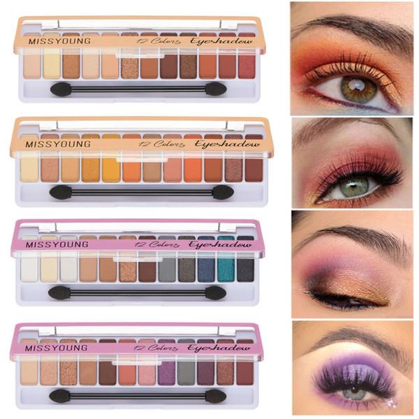 1pcs 12 Farben / Set Langlebige wasserdicht Lidschatten Augen Make-up-Palette Comestic Profesional Matte Lidschatten Pallete NEU