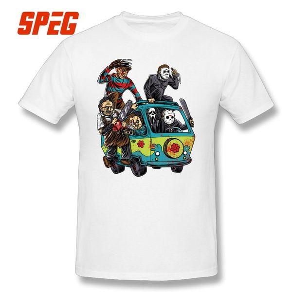 2019 men s designer clothing tshirt T Shirts Men The Massacre Machine Horror T-Shirt Chucky Jason Voorhees Michael Myers Tees Shirt Sleeve