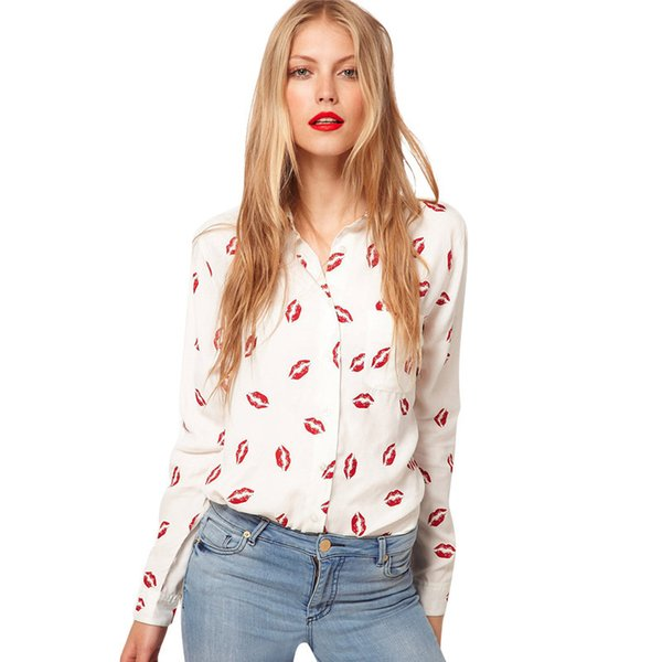 Camisa de manga larga de solapa para mujer, de manga larga, blusa de gasa con estampado de labios rojos, mujer