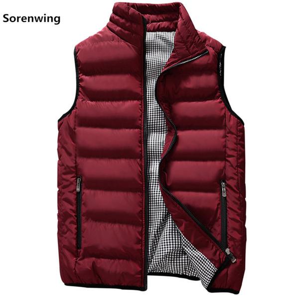 New Vests Men Brand Mens Sleeveless Jacket Cotton-Padded Men's Vest Autumn Winter Casual Coats Male Waistcoat 5XL 00000