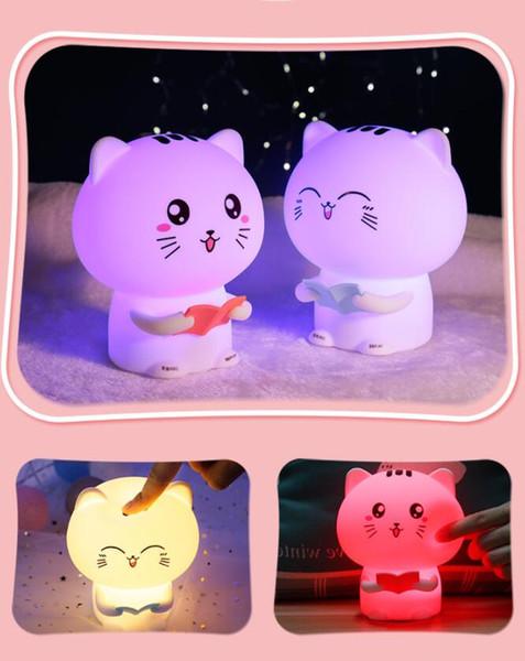 LED Nachtlicht Mini Cartoon Katze Fernbedienung Silikon klopfte Induktionsatmosphäre Schlafzimmer Nachttischlampe