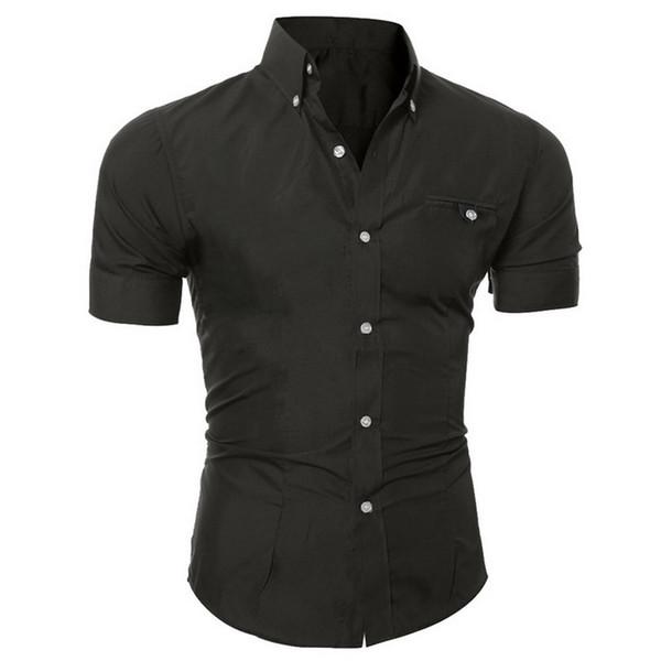 HEFLASHOR Mens Summer Slim Fit Shirt Casual Short Sleeve Dress Shirts Fashion Solid Shirt Men's Turn-down Collar Business