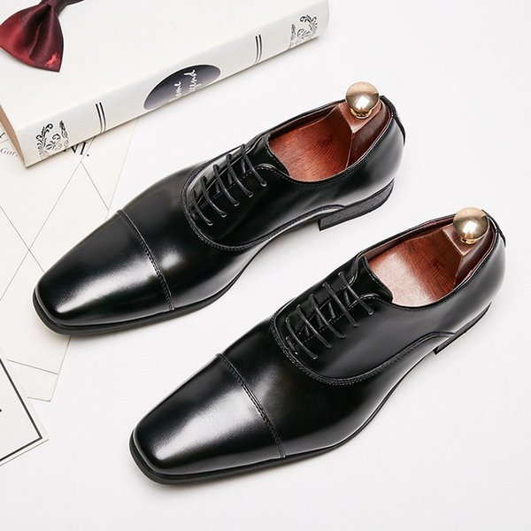 New Men Dress shoes formal shoes men's Handmade business shoes wedding New Men Dress shoes formal shoes men's Handmade business shoes wedding shoes Big Size Genuine Leather Lace-up Male jkm