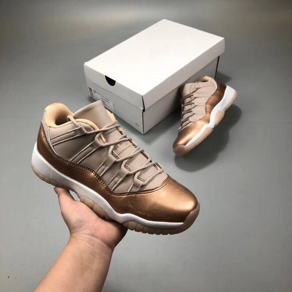 Wholesale New 11 LOW ROSE Metallic Gold women basketball shoes sports trainers sneakers with box free shipping high quality size 36-43