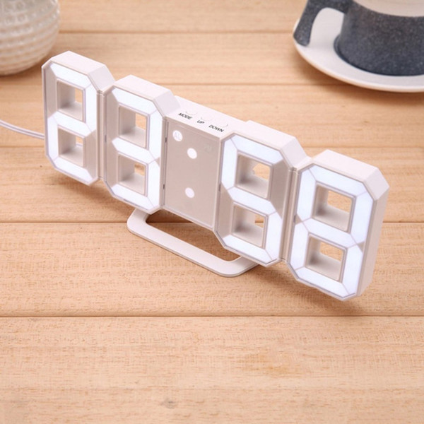 2018 Yeni Moda 3D LED Dijital Saat Ekran Alarm Erteleme Alarm USB Şarj Kablo Saat Oturma Ev Odası Için Modern
