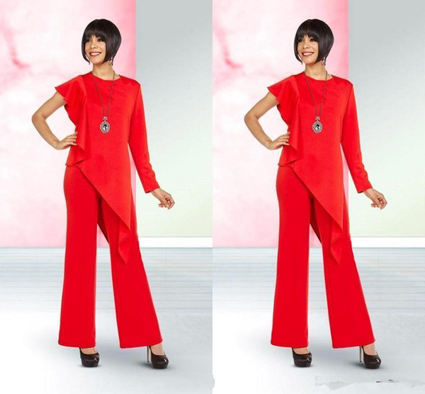 Bright Red Elegant Mother of the Bride Suits Designed One Shoulder Chiffon Mother of the Groom Dresses Pants Suit Women Casual Suits BC1024