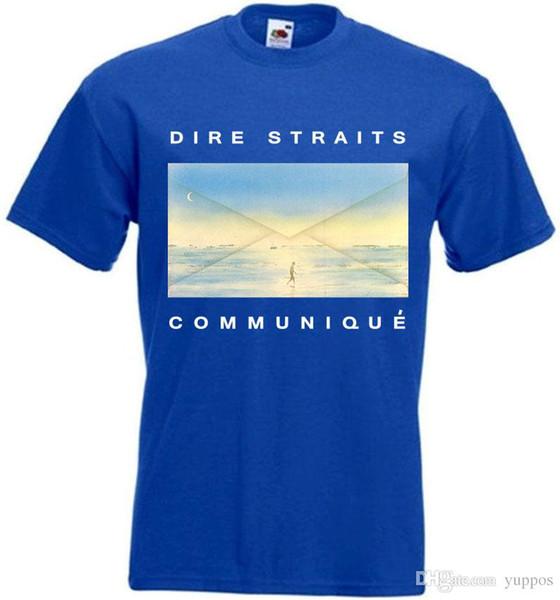 2018 New Arrivals Dire Straits-Communique T-shirt azul cartaz todos os tamanhos S ... 5XLBrand Roupas homens camiseta