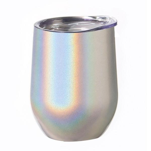 Tazze 12 once d'uovo con la bocca larga bottiglie Coperchio acqua in acciaio inox Tumbler peduncolo Wine glass Metal Edge tazze di caffè MMA2219-A1