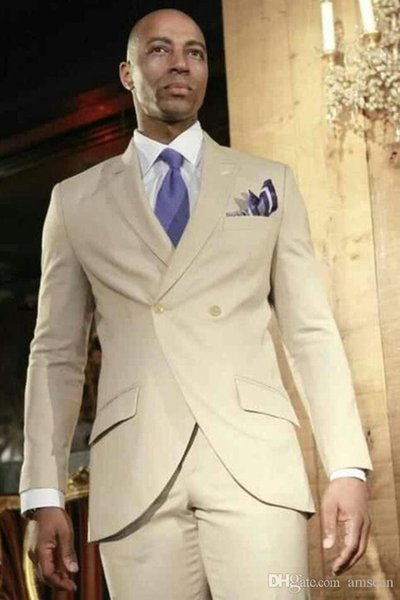 XLY 2019 Summer Khaki Mens Dinner Party Prom Suit Groom Tuxedos Groomsmen Wedding Blazer Suits For Men Stylish (Jacket+Pants)