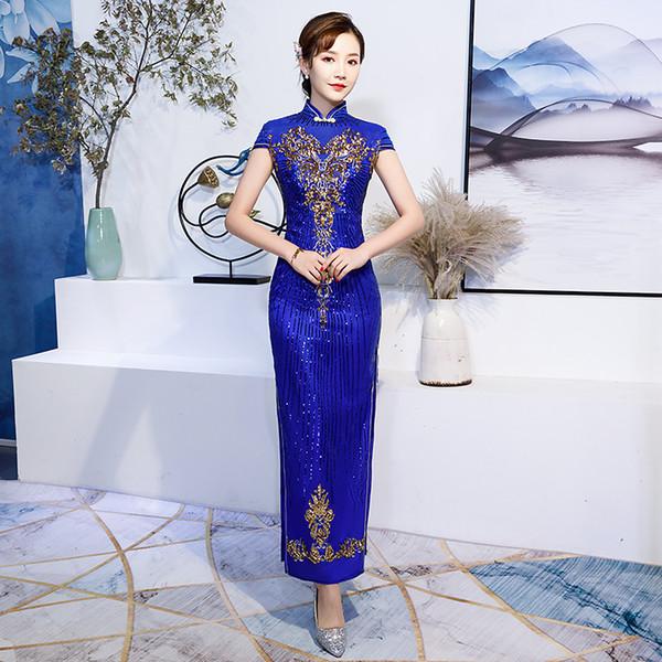 Azul marino Chino Mujeres Lentejuelas Flor Qipao Cheongsam Delgado Tight Bling Formal Party Dress Side Split Largo Vintage Vestidos